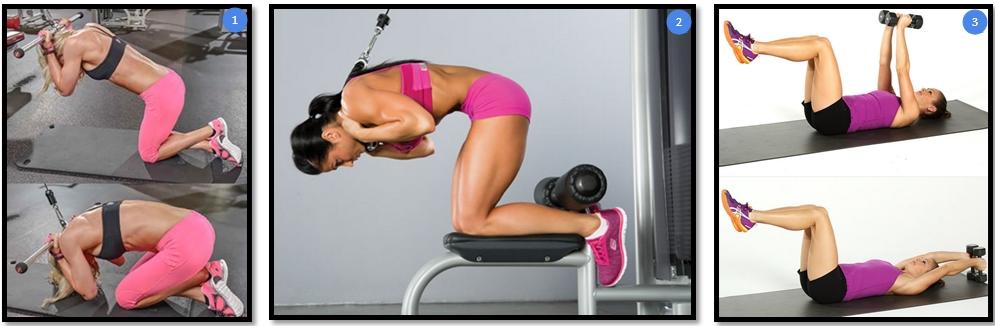 Вариации упражнения скручивание в тренажере сидя