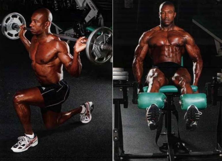 Упражнения выпады со штангой и разгибание ног сидя