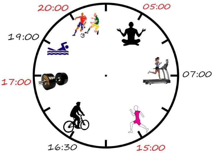 Время для физической активности в течении дня